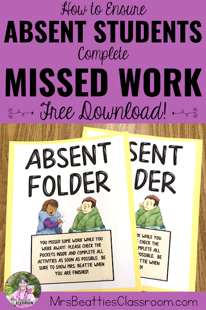"Photo of Absent Folders with text, ""How to Ensure Absent Students Complete Missed Work. Free Download!"""