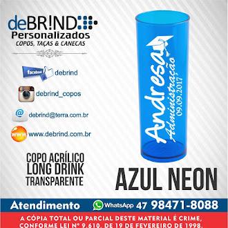→ AZUL NEON - COPOS PERSONALIZADOS -  LONG DRINK