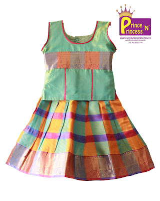 Kids traditional ethnic wear pattu pavadai langa