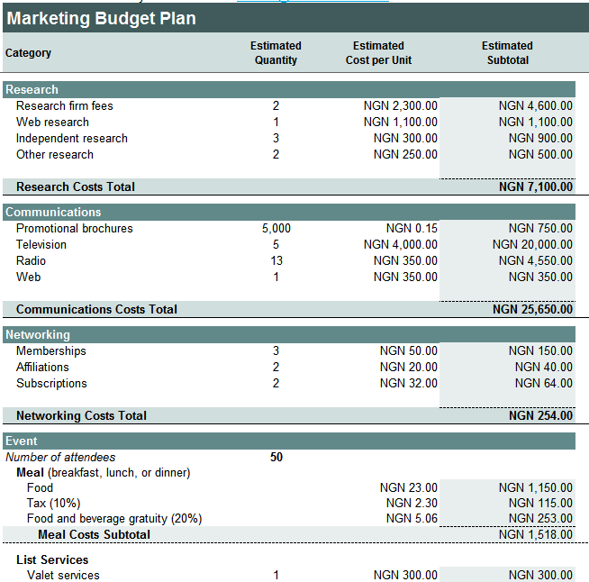online marketing campaign template - an excel worksheet to help plan your marketing campaign