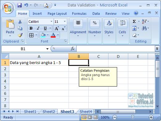Input Message data validation pada excel
