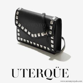 Queen Letizia style Uterque Studded messenger bag