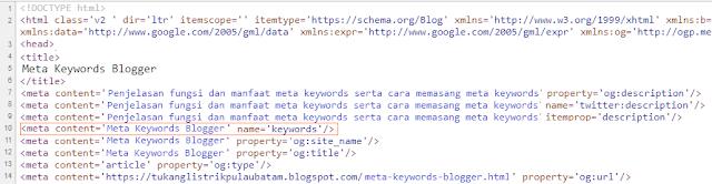 Meta Keywords Blogger