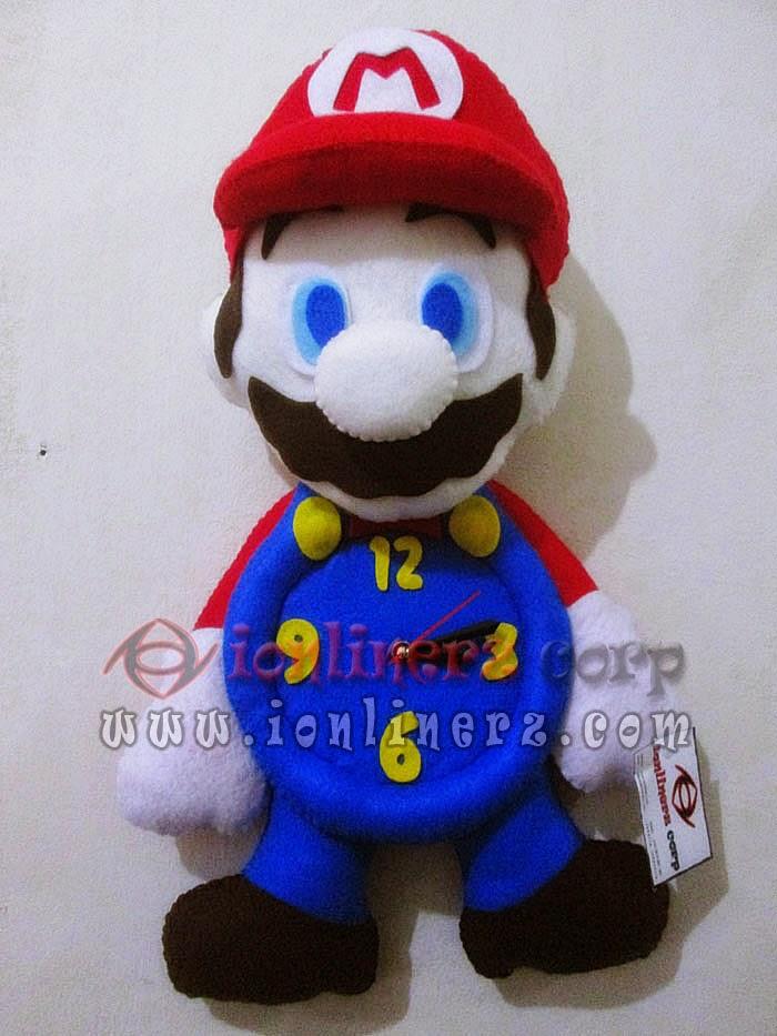 Jam Dinding Flanel Karakter Kartun Boneka Mario Bross