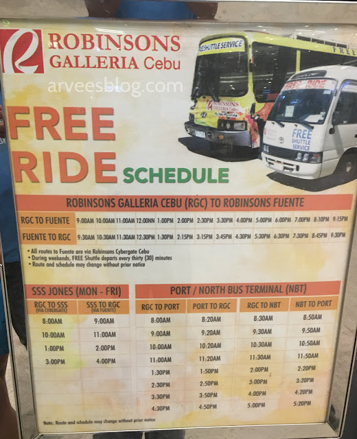 Robinsons Galleria Cebu Free Ride Service Schedules