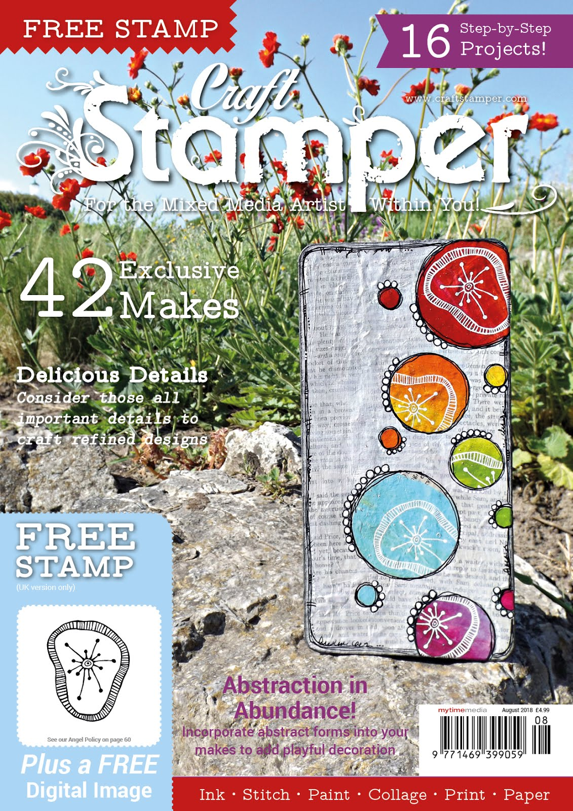 2 Mixed Media Cards Published in Craft Stamper Magazine, August 2018 Issue