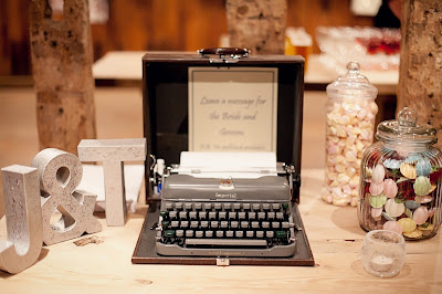 An old typewriter is used as a wedding guestbook