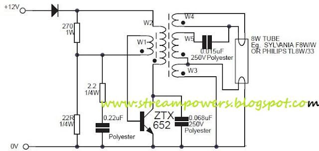 Wiring Schematic Diagram  8w Fluorescent Lamp Inverter