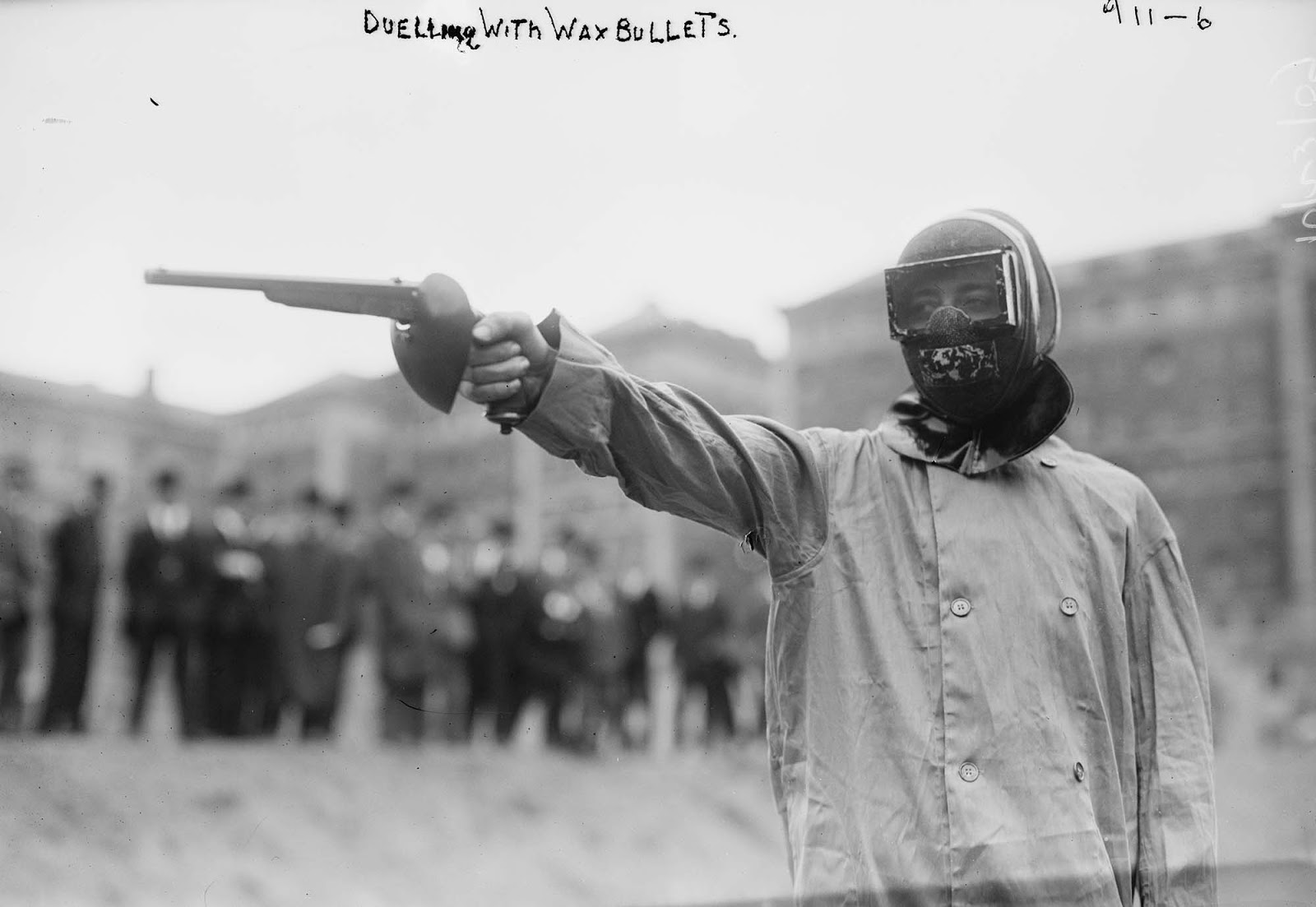 Duelling with wax bullets, New York, 1909.