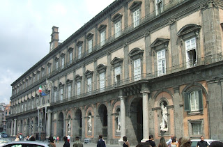 The Royal Palace in Naples, with the eight statues inset in niches along the frontage overlooking Piazza del Plebiscito