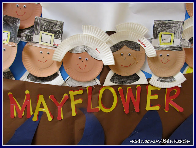 photo of: Close up of Pilgrims Created with Paper Plates via RainbowsWIthinReach