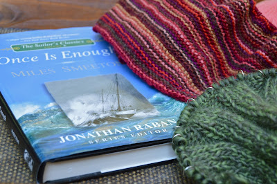 Reading Once is Enough by Miles Smeeton while knitting scarves for sale at https://www.etsy.com/shop/jeanniegrayknits