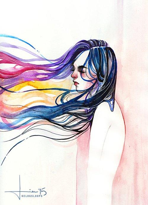 Hieu kelogsloops deviantart arte pinturas aquarelas tradicionais fantasia surreal mulheres coloridas