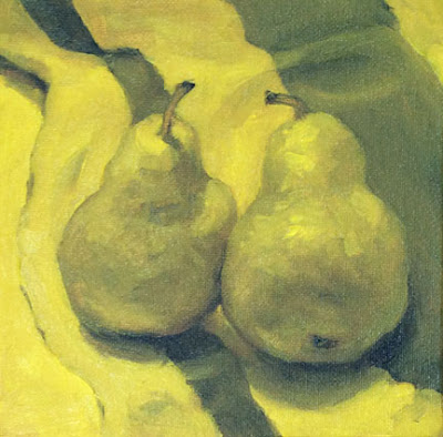G Sivitz, pear, oil painting, yellow and purple
