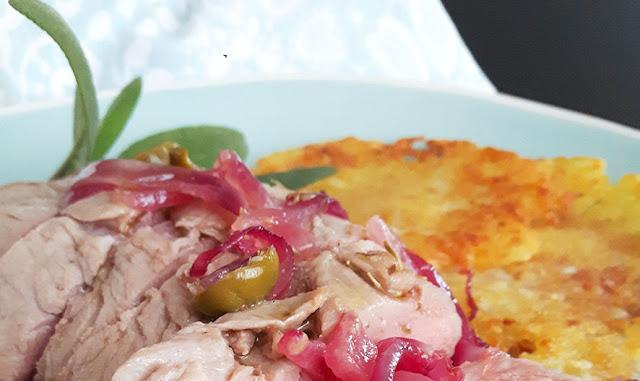 Filetto di maiale in doppia cottura con olio e olive