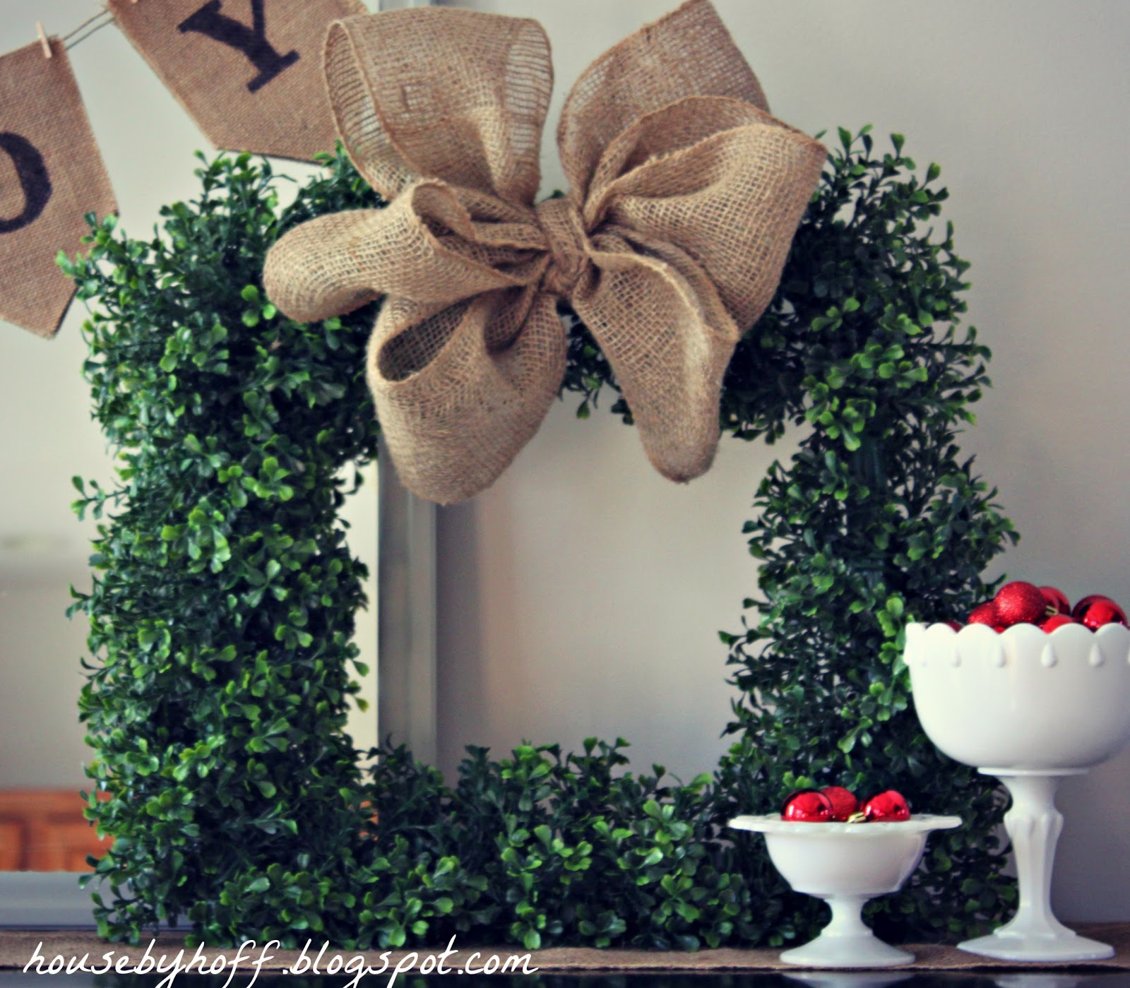 DIY Square Boxwood Wreath with Burlap Bow - House by Hoff