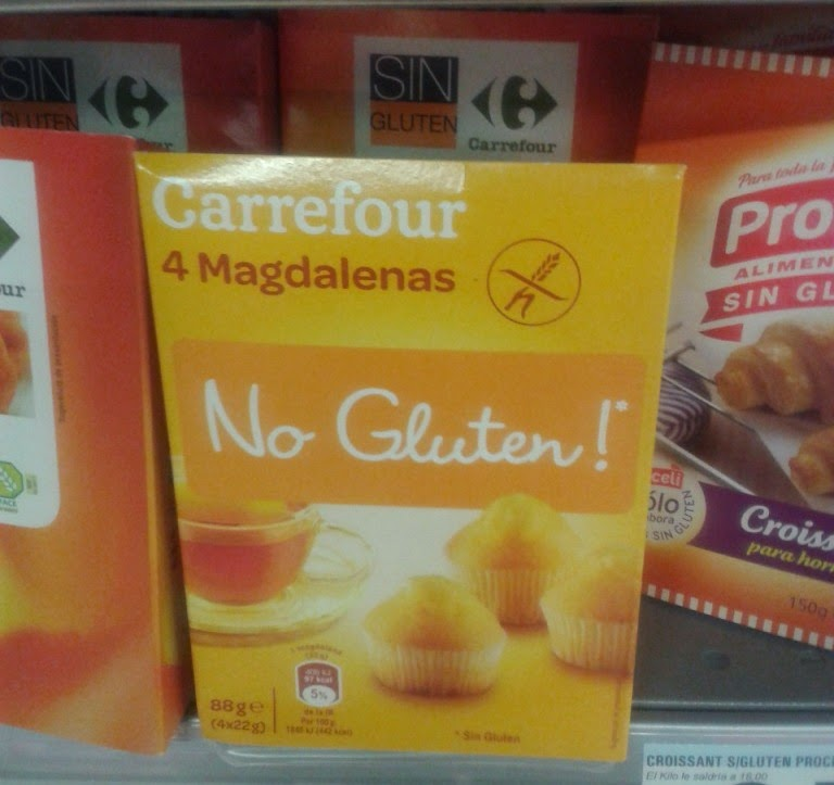 Carrefour's No Gluten! Magdalenas. Sin Gluten (aka Gluten Free) food from Spain