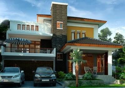 Tampak Depan Rumah Minimalis 2 Lantai batu alam modern