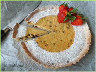 Yorkshire Curd Tart made with curds, currants and spiced with nutmeg