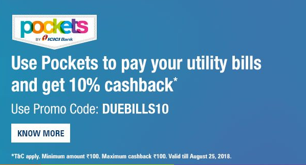 Pockets App Electricity Bill Payment Offer: Get 10% Cashback on Payment Via Pockets App *Latest*