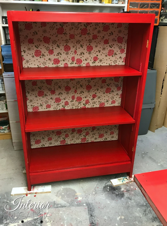 Antique Oak Bookcase Fabric Back
