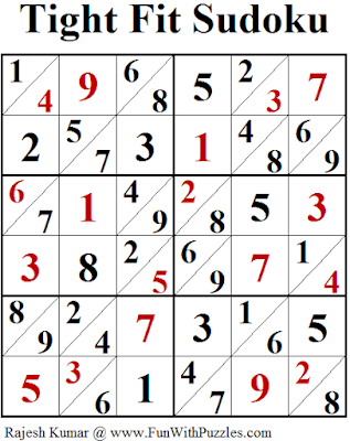 Tight Fit Sudoku (Fun With Sudoku #244) Puzzle Answer