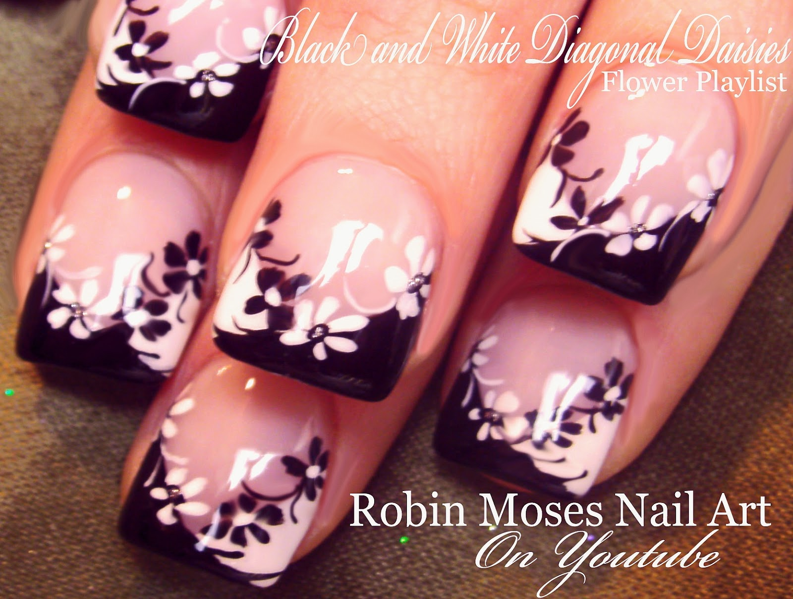 Nail Art By Robin Moses Black And White Daisies On A Diagonal