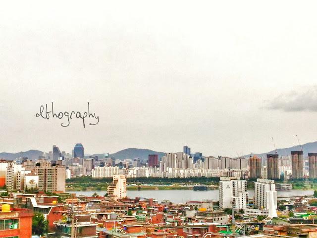 pemandangan di roof top muslim stay, akomodasi ramah muslim di itaewon seoul