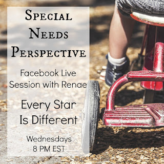 Details about the Special Needs Perspective Facebook Live Sessions on Every Star Is Different.