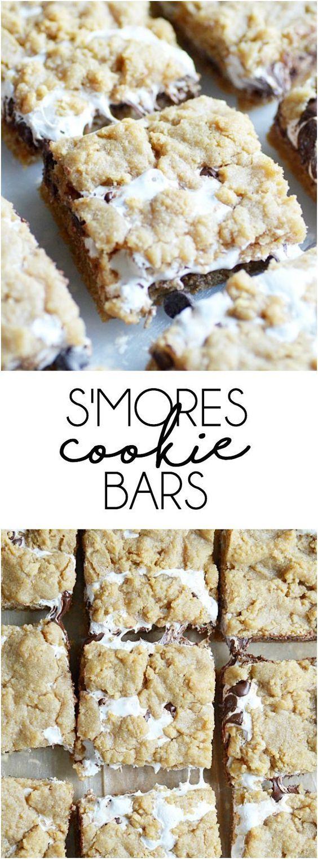 S'mores Cookie Bars #s'mores #cookies #cookiebars #cookierecipes #easycookierecipes