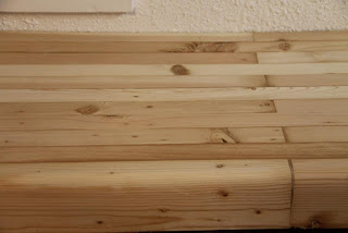 Pine butcher block counter section, sanded