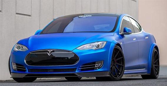Matte Blue Tesla Model S by GMP Performance