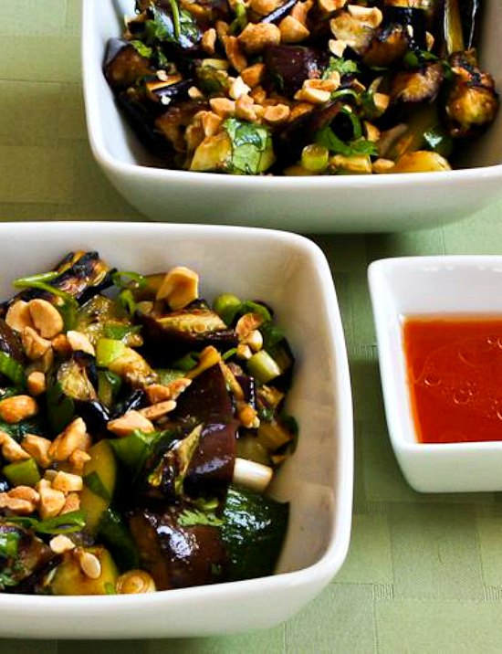 Spicy Grilled Eggplant and Zucchini Salad Recipe with Thai Flavors from KalynsKitchen.com