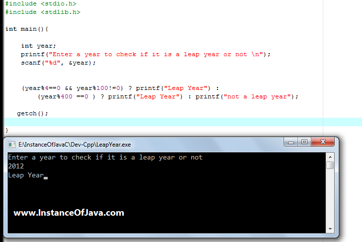 C Program to Check Year is Leap Year or Not