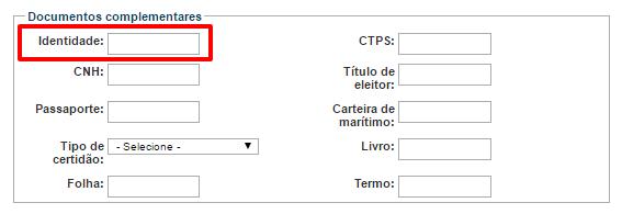 Documentos complementares no formulário CNIS