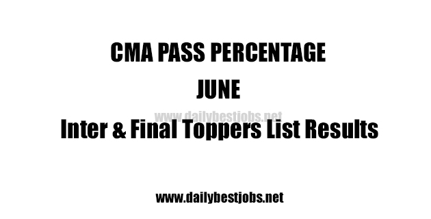 CMA Pass Percentage June Inter & Final Toppers List Results