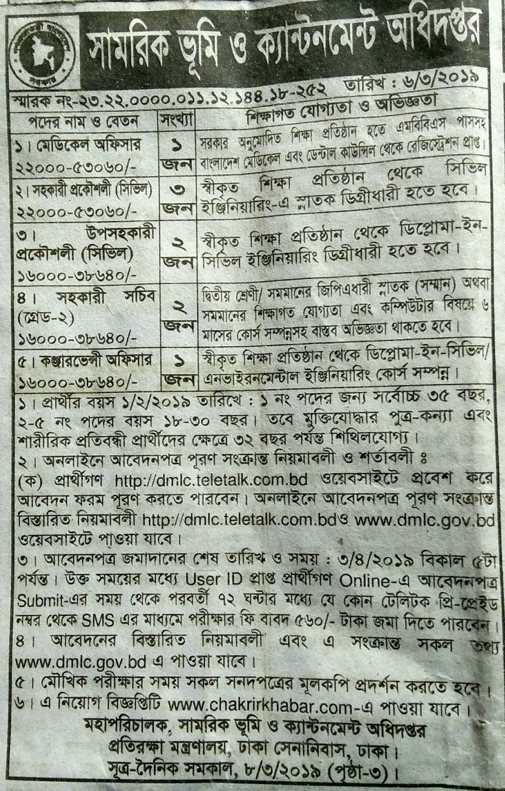 Department of Military Lands and Cantonment  job circular