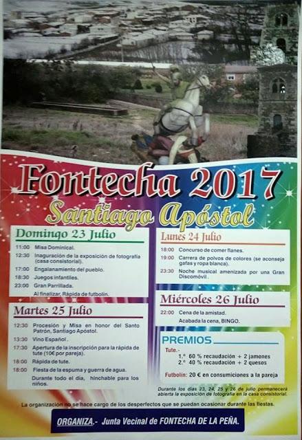 Programa Fiestas de Santiago 2017 en Fontecha de la Peña (Palencia)