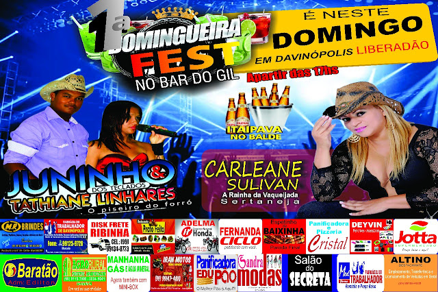 Eventos - 1ª Domingueira Fest no Bar do Gil Davinopolis