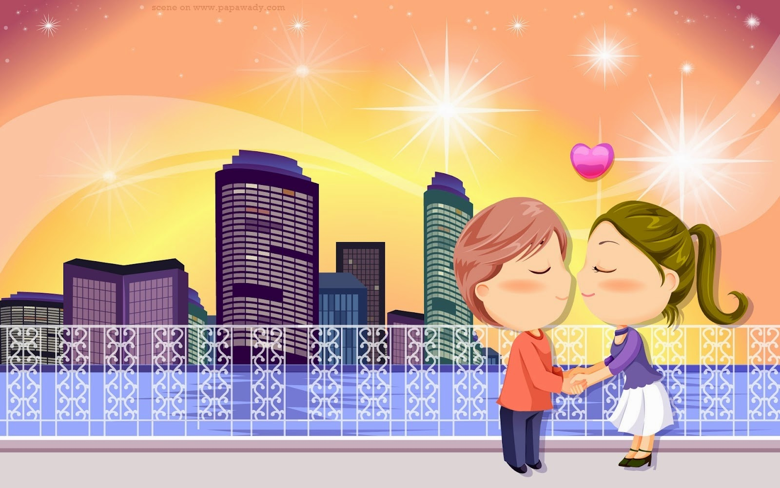 Lovely Couple Animation Cartoon Photos with Romantic Quotes
