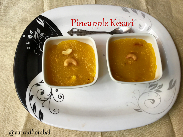 Pineapple Kesari recipe - How to prepare Pineapple Kesari with step by step photos - This Pineapple Kesari dessert uses only four ingredients and comes together in less than 30 minutes. This Kesari is made with fresh pineapple chunks so they have a bold pineapple flavour. You can also use canned pineapple chunks, but I have not tested this recipe with the canned pineapples. Have you noticed that all kesari dishes always require double the measure of sugar? That's the only thing I won't prefer to do these type of dishes frequently. Once in a while for special occasions or festivals, I prepare this kesari with a good amount of sugar and ghee. If we reduce the sugar and ghee it won't taste and look like kesari.