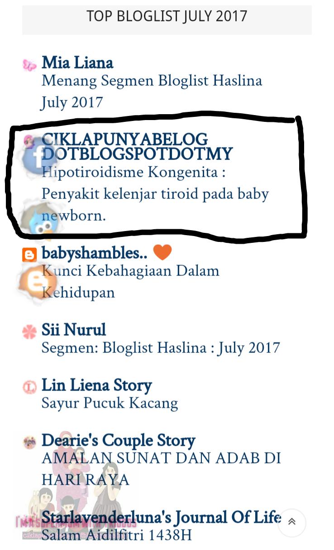 Menang segmen bloglist Haslina July 2017.