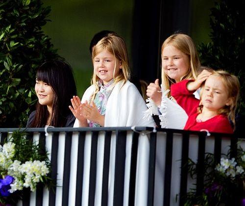 King Willem, Queen Máxima, Princess Amalia, Princess Alexia and Princess Ariane at CHIO Rotterdam 2013
