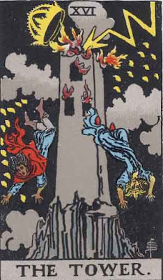 The Tower card in the 1909 Rider-Waite tarot deck.