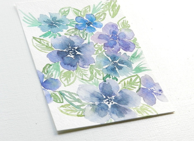 purple flowers watercolor