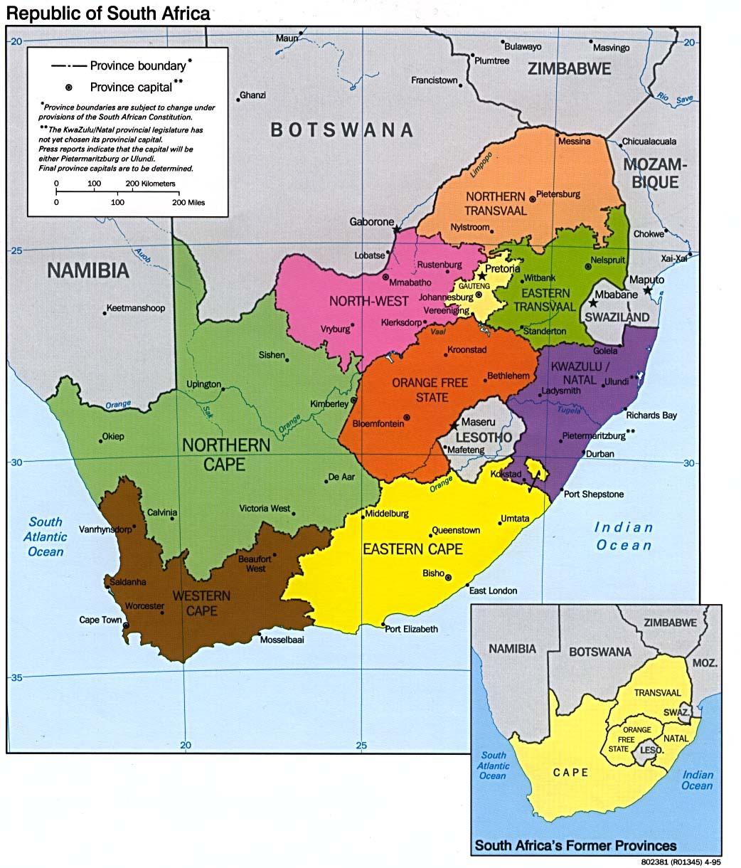 África do Sul   Mapas Geográficos da África do Sul