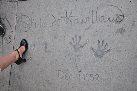 Olivia de Havilland footprints Grauman's Chinese Theater by Lady by Choice