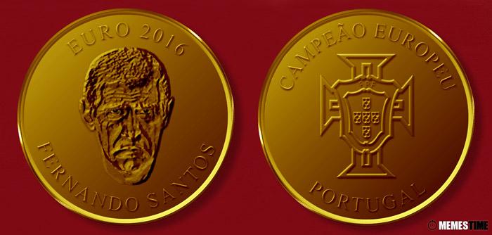 Meme com Medalha Comemorativa da Conquista do Euro 2016 pela Seleção Nacional de Portugal – Fernando Santos.