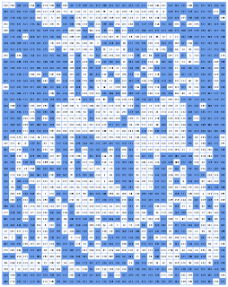 gridded dungeon map with adjacent-intervals rule applied