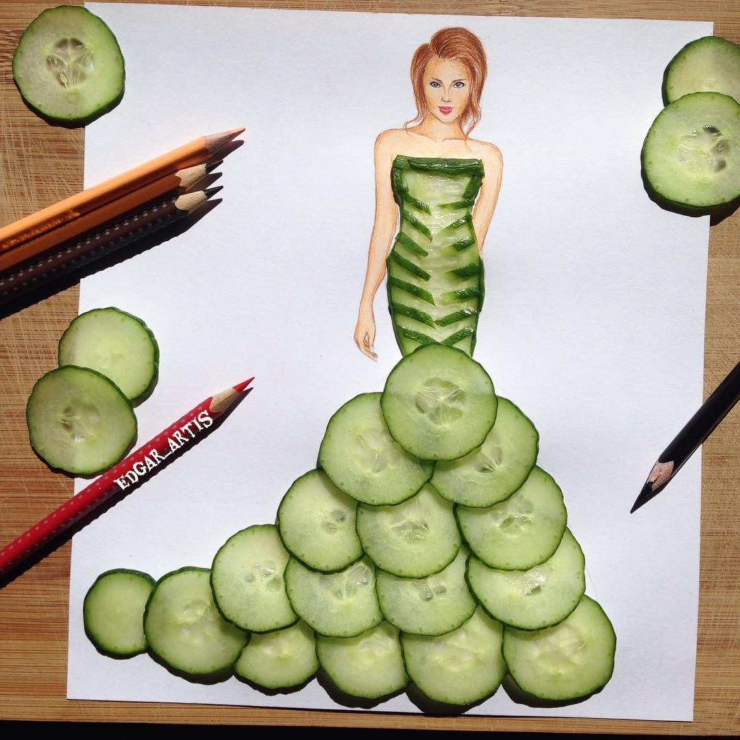 11-Cucumber-Edgar-Artis-Drink-Food-Art-Dresses-and-Gowns-Drawings-www-designstack-co